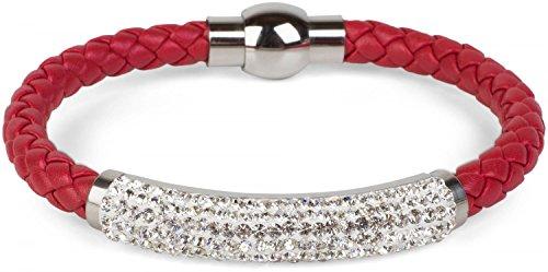styleBREAKER geflochtenes Armband mit Strasssteinen und Magnetverschluss, Flechtarmband, Damen 05040047, Farbe:Dunkelrot