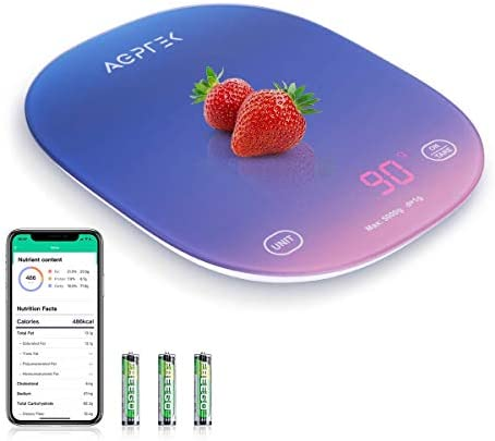 Smart Food Scale with Smartphone App AGPTEK Digital Kitchen Scale Measures in Grams Ounces and product image