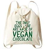 Flox - Zaino creativo in cotone biologico, solo uova, mangio, cioccolato vegano, Naturale (Beige) - 06615-BACKPACKTOTE-NATURAL