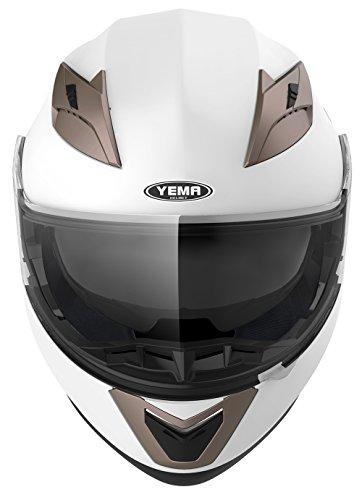 Casco Modulare Moto Integrale Scooter - YEMA YM-925 Caschi Modulari Motorino Integrali ECE Omologato Donna Uomo con Doppia Visiera Parasole,Bianco, M