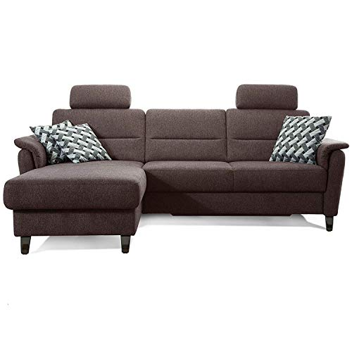 Cavadore Ecksofa Palera mit Federkern / L-Form Sofa mit Longchair links / 244 x 89 x 164 / Stoff Braun