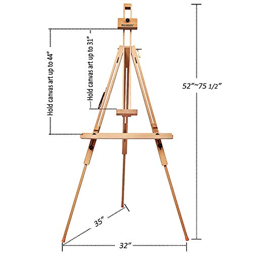 MEEDEN Tripod Field Painting Easel with Carrying Case - Solid Beech Wood Universal Tripod Easel Portable Painting Artist Easel, Perfect for Painters Students, Landscape Artists, Hold Canvas up to 44""