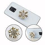 PH26 - Soporte de teléfono móvil plegable para BQ Mobile BQ–B5745L Clever Super Design Diamante, mango universal de teléfono – Diamante oro y blanco