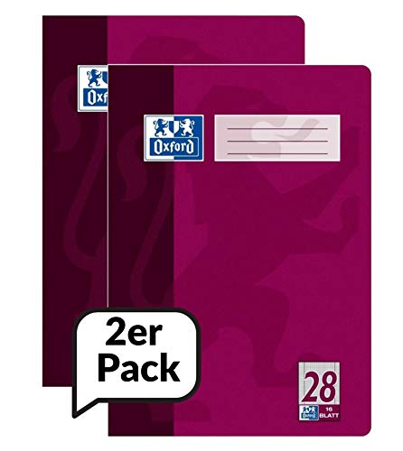 Oxford 100050314 Hefte A4 Kariert mit Rand, Lineaur 28, rot, 16 Blatt, Aubergine, 2er Pack