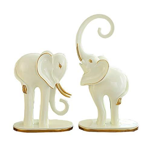 Decoraciones Un par de adornos de elefante Lucky Living Room Entrada Gabinete de TV Elefante Estatua Decoración Creativa Artesanías Inicio Oficina Decoración Detalle Regalo Decoración de escritorio