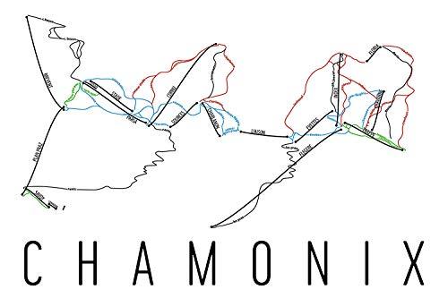 Modern Map Art Chamonix Poster, Chamonix Ski Resort Poster, Chamonix Art Print, Chamonix Trail Map, Chamonix Trail Map Art, Chamonix Wall Art Poster, Chamonix Frankrijk Gift - Maat 24