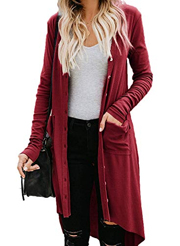 Naggoo Womens Snap Button Down Kimono Pocketed Open Front Long Knited Cardigan Cardigan Wine Red,L