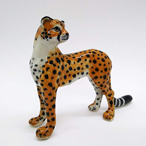 WitnyStore Cheetah Figurines - Collectible Animal Art - Miniature Hand Made and Painted Ceramic Table Decor Perfect for Gifts and Souvenirs 1 5/8  H x 4  L x 1 3/8  W