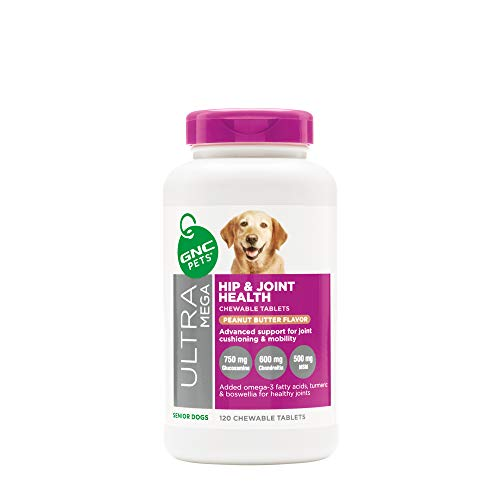 GNC Pets Ultra Mega Hip & Joint Health Chewable Tablets Dog Supplement for Senior Dogs, 120 Count - Peanut Butter Flavor | Advanced Support for Joint Cushioning & Mobility