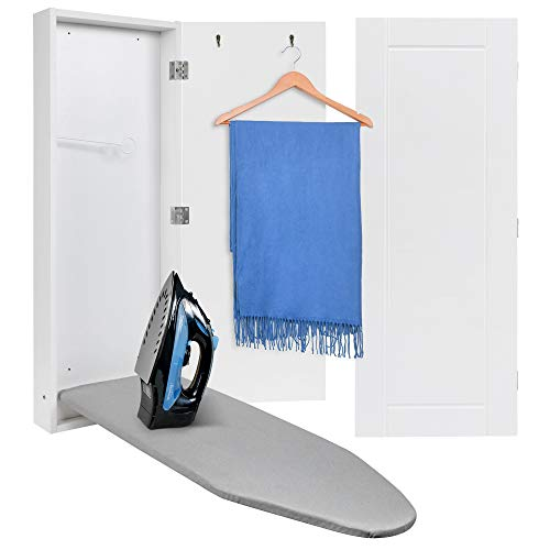 Ivation Wall Mounted Ironing Board Cabinet, Foldable Ironing Storage Station for Home, Apartment & Small Spaces, Easy-Release Lever, White