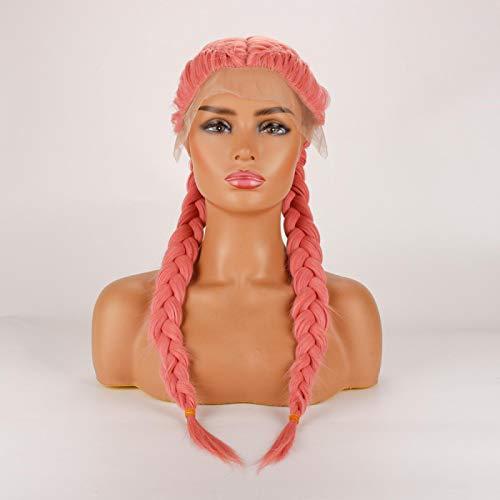 ZBSY Dlme cinza trançado peruca parte do meio loira peruca dianteira do laço sintético rosa resistente ao calor caixa dupla trança perucas azuis Rosa