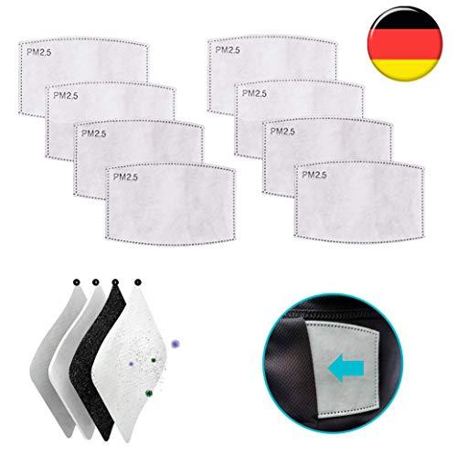FLOWZOOM Schlauchschal komplimentäre Filter | 8 STK. Aktivkohlefilter passend Multifunktionstuch | Vier Schichten Filterblatt zur besseren Reinigung der einzuatmenden Luft (8er-Pack Filter)