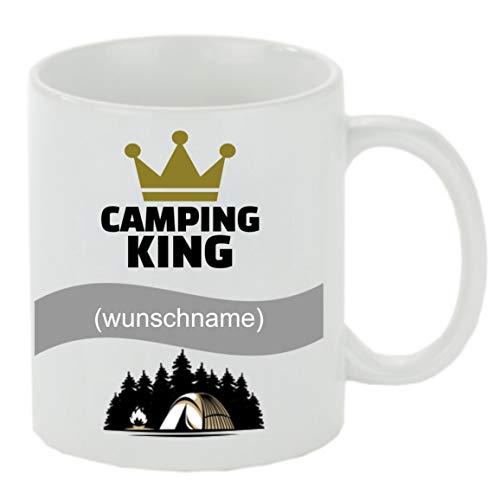 Creativ Deluxe Kaffeebecher m. Wunschname (Wunschname) Camping King Kaffeetasse mit Motiv, Bedruckte Tasse mit Sprüchen oder Bildern - auch individuelle Gestaltung