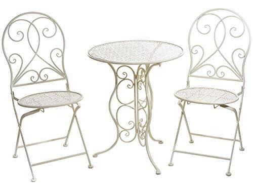 Gruppo Maruccia Tisch und Stühle aus Metall, Shabby-Chic, Weiß, antik, zur Dekoration von Garten, Bars und Geschäften, Möbel-Set für den Außenbereich