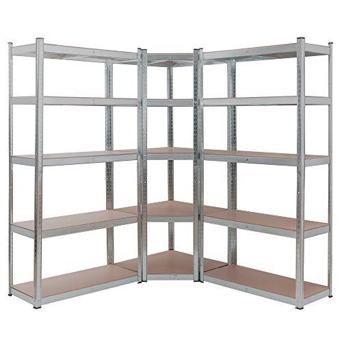Arebos Schwerlastregal 3er Set | Eckregal Kombination | bis zu 875 kg Tragkraft | Montage durch Stecksystem | Robuste Metallkonstruktion | Mittelquerstrebe für mehr Stabilität