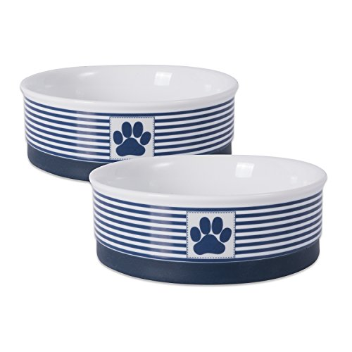 Bone Dry Paw Patch & Stripes Ceramic Pet Bowl & Canister Collection, Medium Bowl Set - 6 x 6 x 2, Nautical Blue, 2 Piece