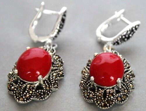 PINGGUO Pendientes largos de plata de ley 925 y marcasita de coral rojo con perlas de ónix gota de jade natural
