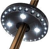 傘ライト24 + 4LED高ルーメンコードレス3レベル調光パラソルLEDライト傘柱パティオテント照明純粋な白色光キャンプ場ハンギングランプ,黒