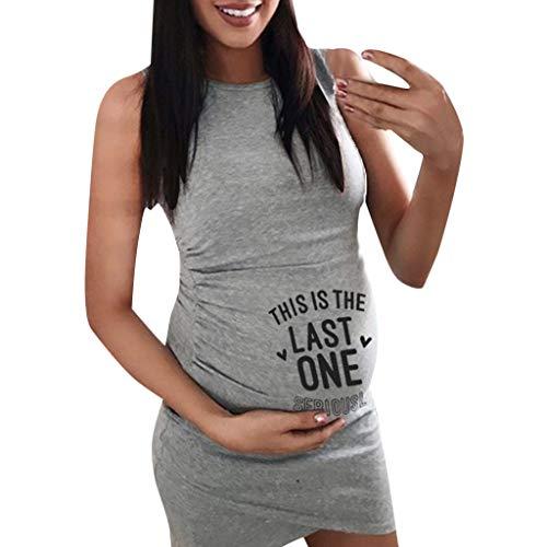 Vestido de maternidad fruncido divertido con estampado de letras, vestidos para mamá, embarazo, mujeres, casual, sin mangas, vestido de verano bodycon, vestido de playa, camisón de noche