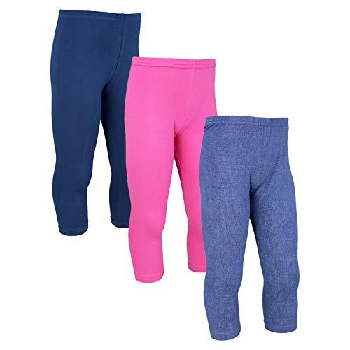 TupTam Mädchen Leggings 3/4 Capri Hose Kinder Blickdicht 3er Pack, Farbe: Farbenmix 1, Größe: 152