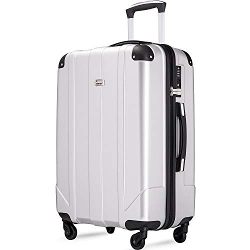 Merax Hardside Spinner Luggage with Built-in TSA and Reinforced Corners, Eco-friendly P.E.T Light Weight Carry-On 20' 24' 28' Suitcases (28-inch, Silver)