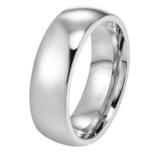 PROSTEEL Edelstahl Herren Ring, Hochglanzpoliert 6mm Breite Ring Klassischer Ehering Verlobungsring für Männer, Silber, Ringgrößen 57(18.1)