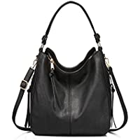 Designer Faux Leather Ladies Hobo Handbag (Black-Gold Hardware)