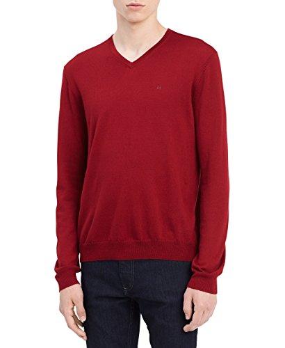 Calvin Klein Men's Merino Solid V-Neck Sweater, Mania Red, Large