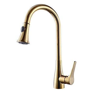 KES cUPC NSF Certified BRASS Singel Handle Pull Down Kitchen Faucet with Retractable Pull Out Wand, High Arc Swivel Spout, Titanium Gold, L6910-4