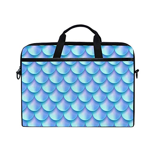 Laptop Sleeve Case,Laptop Bag,Blue Watercolor Mermaid Scale Water Briefcase Messenger Notebook Computer Bag with Shoulder Strap Handle,28.5×38 CM/14 Inch