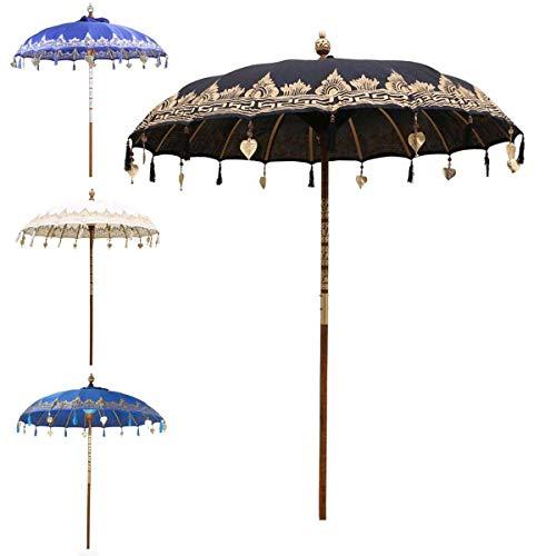 Oriental Galerie Bali Sonnenschirm Balinesischer Garten Schirm Baumwolle Sonnenschutz Handarbeit Retro Vintage Dekoschirm 2-teilig ca.180cm Ø Einfache Bemalung, Design:Nr. 7