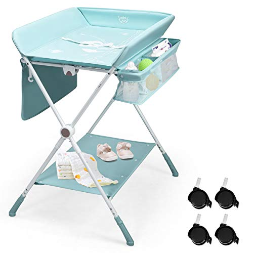COSTWAY 4-in-1 Baby Changing Table, Adjustable Infant Care Station with Wheels and Storage, Folding Newborn Bath and Massage Tables Diaper Organizer (Blue)