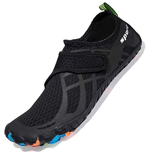 SCIEU Herren wasser schuhe quick dry barefoot aqua schuhe tauchen segeln surfen yoga strand fahren c pure schwarz 9.5 uk