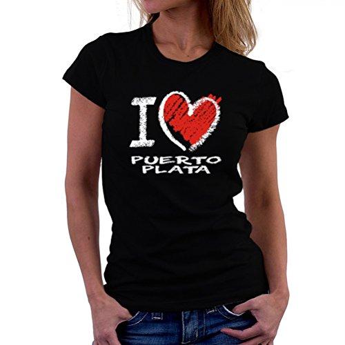 Teeburon I Love Puerto Plata Chalk Style Camiseta Mujer
