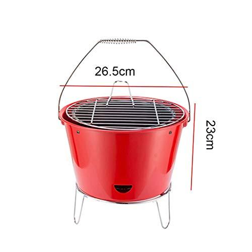 41bxzNmVJLL. SL500  - Grills Kochplatten Barbecue verdickte Garten Holzkohle-Rack Runde Barrel Herd Aussen tragbare Mini- Grillzubehör (Color : Red)