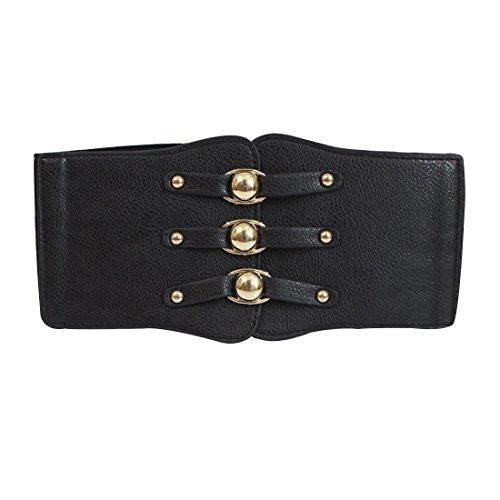 Vintage Elastischer Cinch-Gürtel Stretch Taille Band Frauen Cincher Gürtel, Damen, schwarz, Einheitsgröße