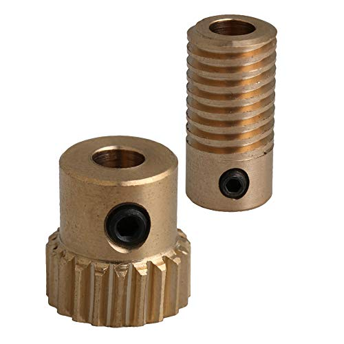 CNBTR 5mm Bore Hole Diameter Brass Worm Gear Shaft with 20 Teeth Worm Wheel 0.5 Modulus Set Drive Gear Box Shaft
