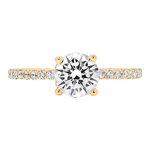 Clara Pucci 1.64 ct Brilliant Round Cut VVS1 Ideal Birthstone Clear Gemstone Conflict-Free CZ Designer Accent Solitaire Dainty Statement Ring in Solid 14k Yellow Gold size 10
