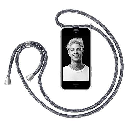 ZhinkArts Handykette kompatibel mit Apple iPhone 5 / 5S / SE (2016) - Smartphone Necklace Hülle mit Band - Handyhülle Case mit Kette zum umhängen in Dunkelgrau