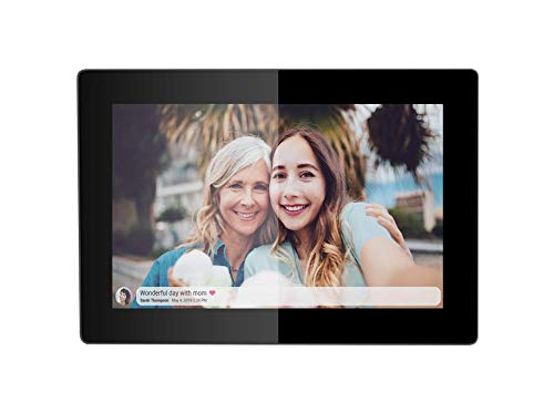 JHZL 10.1 Inch 16GB Smart WiFi Digital Picture Frame, Danish Design Frameo App Send Photos or Small Videos from Anywhere, Touchscreen, IPS 1280x800 LCD Panel (Black) Digital Frames Picture