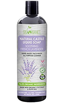Body Wash Organic French Lavender by Sky Organics (8oz), Plant Based Liquid Castile Soap and All Purpose Wash, Vegan & Cruelty-Free, Lavender Essential Oils Natural Hand Soap Savon de Marseille