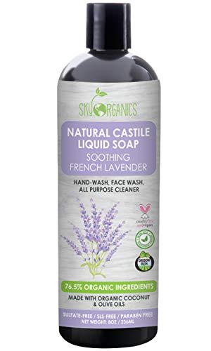 Castile Soap Organic French Lavender by Sky Organics (8oz), Plant Based Liquid Soap and All Purpose Wash, Vegan & Cruelty-Free, Lavender Essential Oils Natural Castile Soap Savon de Marseille