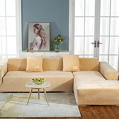 2 Stück Verdicken Stretch sofabezug L form beige mit 2 Kissenbezug,Upgrade Elastische Sofa Abdeckung für Hunde Katzen Haustiere Kinder, Weiche Sofa überzug Schonbezug Möbelschutz für Wohnzimmer,G