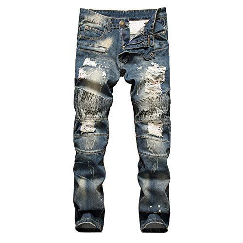 Huntrly Pantalones Vaqueros de Hombre Retro de Talla Grande Slim Straight Pierna Tendencia Personalidad Ripped Locomotora Jeans Pantalones de Mezclilla de Moda 34