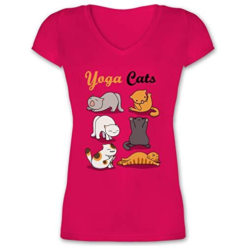 Statement - Yoga Cats - 3XL - Fuchsia - t-Shirt Katze Damen - XO1525 - Damen T-Shirt mit V-Ausschnitt