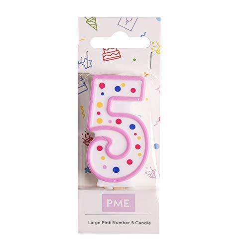 PME CA085 Kerze, Rosa, Nummer 5, Kunststoff, Pink, 4 x 1 x 6.3 cm