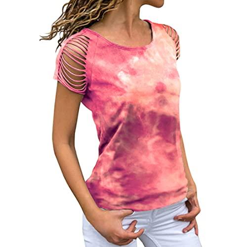 DOLAA Mujeres Manga corta Gradiente Floral Estampado túnica Tops Camiseta de verano Básica Camisetas de manga corta Tops Casual Blusa con hombros descubiertos Camiseta casual Tie Dye Print Túnica Tops