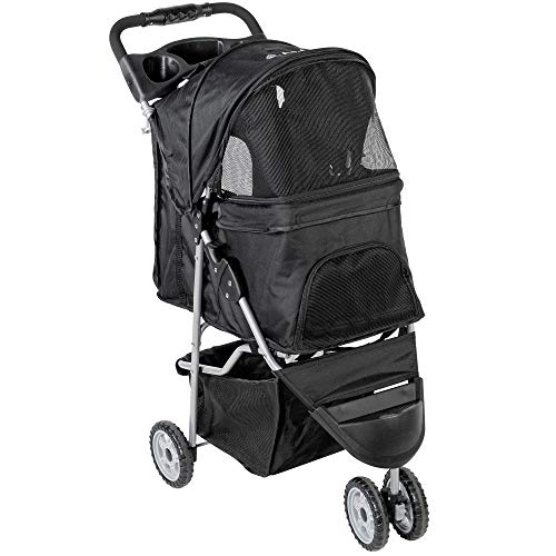 VIVO Black 3 Wheel Pet Stroller for Cat, Dog and More, Foldable Carrier Strolling Cart (STROLR-V003K)