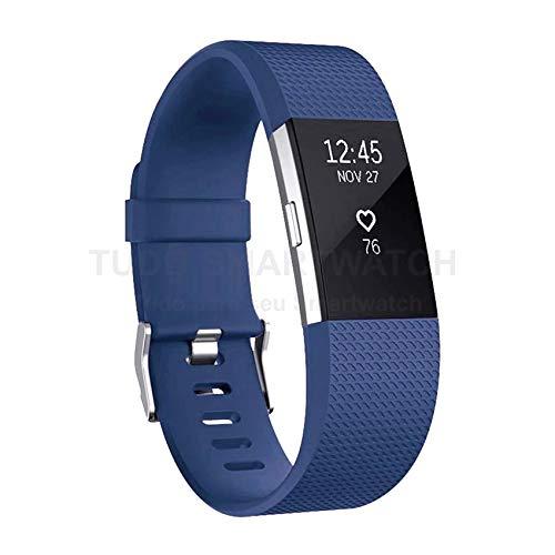 Pulseira de Silicone Azul Escuro para Relógio Fitbit Charge 2