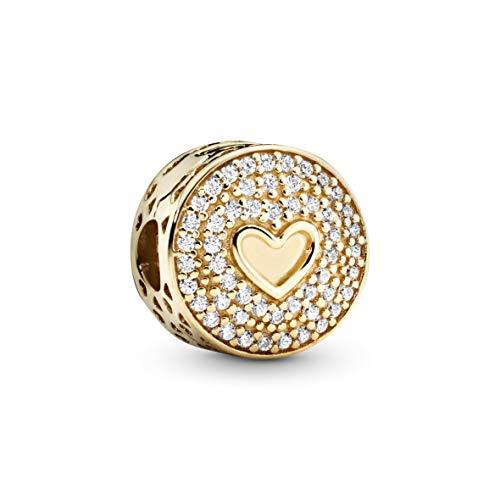 PANDORA 757557CZO - Abalorio de oro amarillo de 14 quilates con forma de corazón